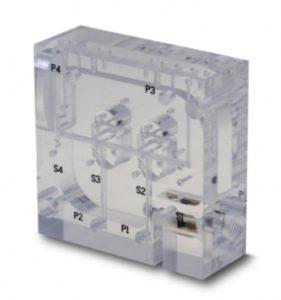 Photo of acrylic manifold with flowmeter